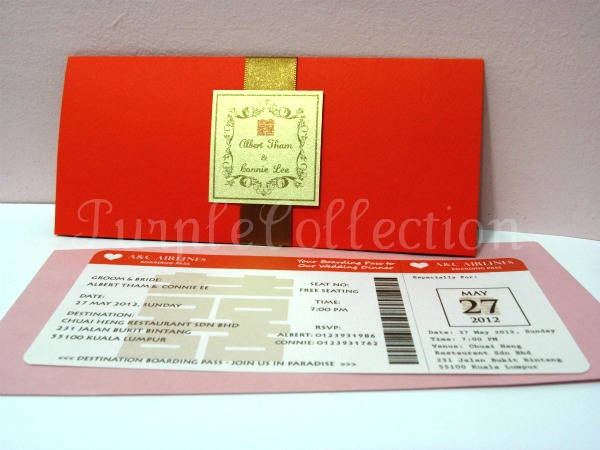 Boarding pass red double happiness chinese wedding invitation card stopboris Choice Image