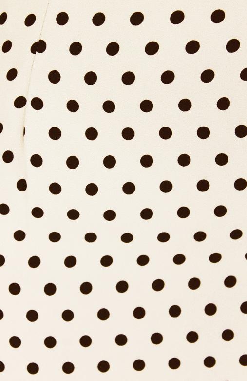 Cream Polka Dot Pencil Knee Length Skirt