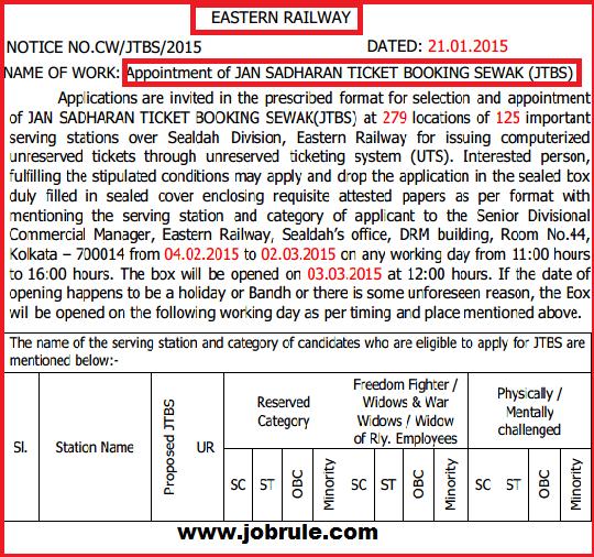 Eastern Railway Sealdaha Division Latest Jan Sadharan Ticket Booking Sewak-JTBS Appointment Tender Notice 2015