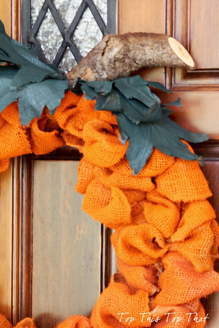 Laura over at Top This Top That made this adorable pumpkin wreath from bright orange burlap. This is a cute fall craft to hang on your front door!