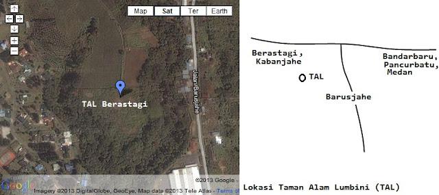 Peta lokasi Taman Alam Lumbini Berastagi