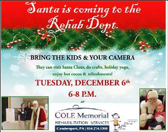 12-6 Santa is coming to the Rehab Dept.