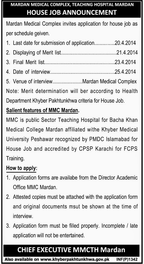 Doctor Vacancies in Medical Complex Teaching Hospital, Mardan