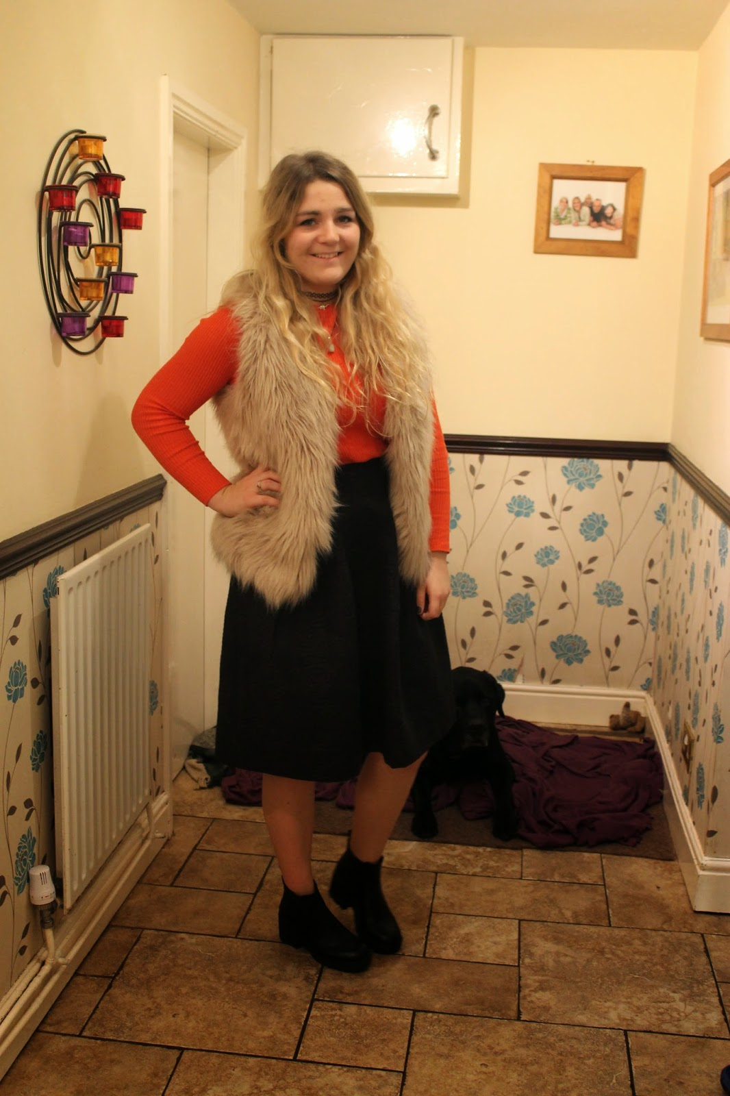 Fur gilet orange top midi skirt