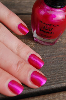 Kleancolor Metallic Pink, a dark pink metallic nail polish from Kleancolor