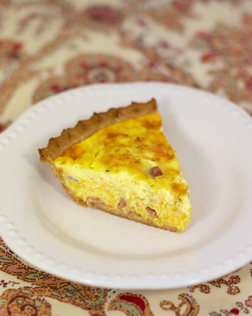 Honey Ham and Cheese Quiche - can be made ahead of time and refrigerated and even frozen for later. Great for breakfast, lunch or dinner!