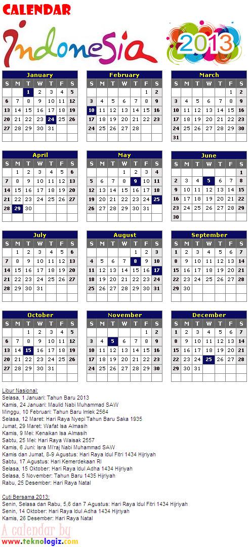 Kalender 2013 Cuti Bersama dan Libur Nasional Indonesia - www.teknologiz.com