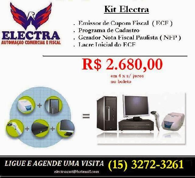 ELECTRA  AUTOMAÇÃO COMERCIAL Rua. Dr. Julio Prestes, Centro - Itapetininga - SP e-mail: electraaut@hotmail.com tel:(15) 3272-3261 / 99618-3132
