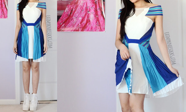 More photos of SheIn's dupe of the Three Floor Ray of Light athletic-style colorblocked white dress.