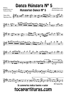 Partitura de Danza Húngara Nº 5 de Saxofón Alto y Sax Barítono by Johannes Brahms Sheet Music for Alto and Baritone Saxophone Hungarian Dance Nº5 Music Scores