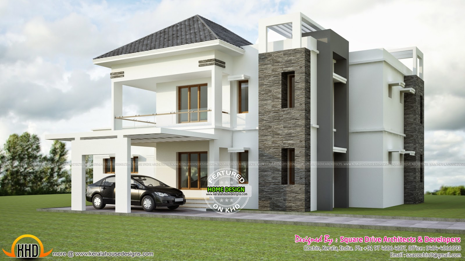 february 2015 kerala home design and floor plans modern sloped roof