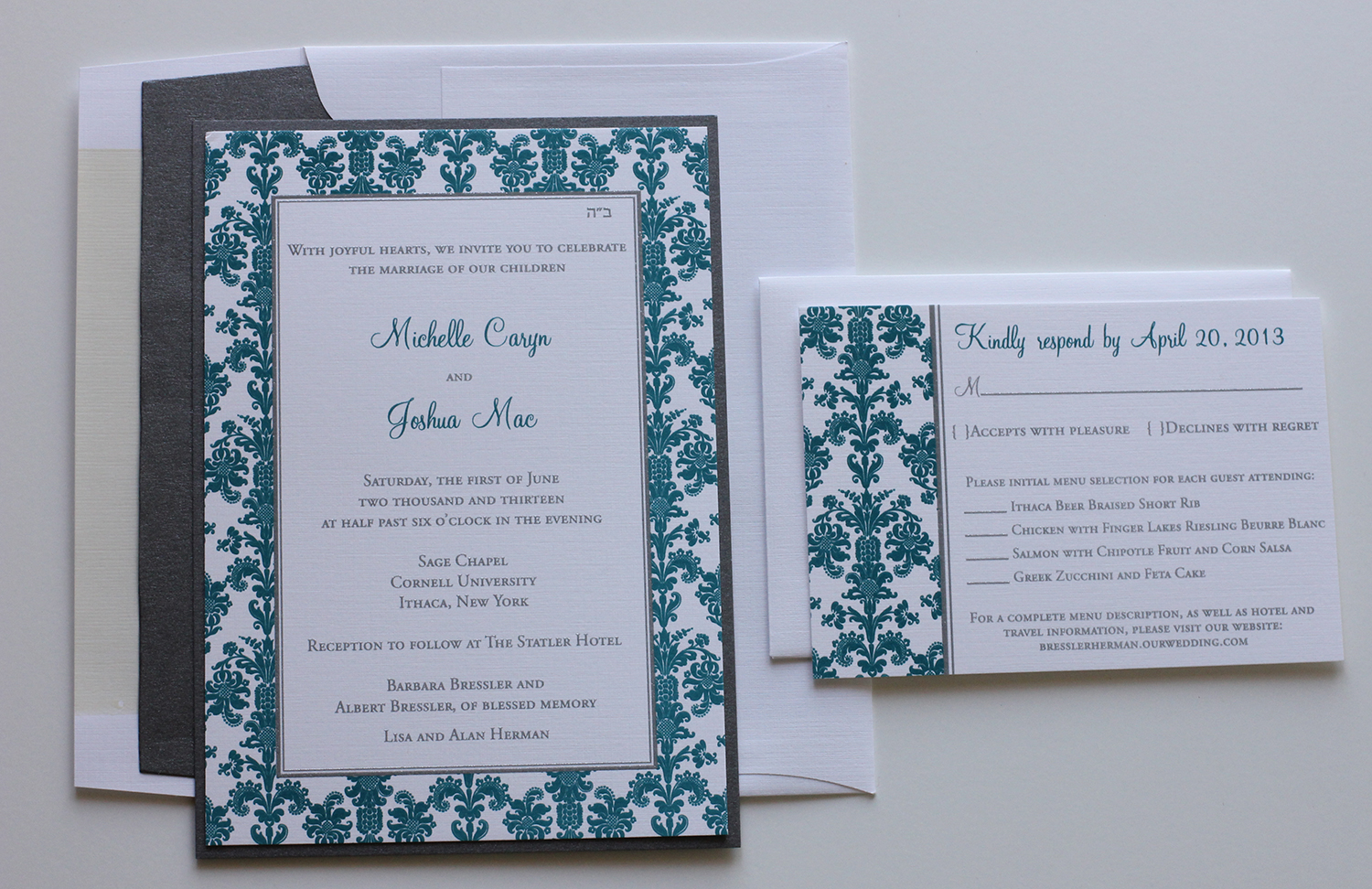 Teal & Silver Wedding Invitations   Blush Paperie