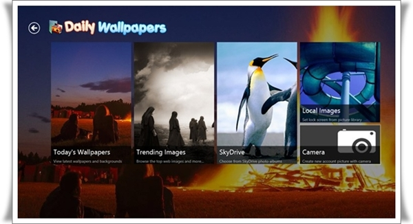 Tampilan aplikasi Daily Wallpapers untuk Windows 8