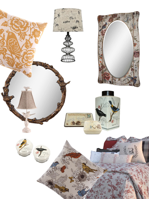 AnnabelleStyle Birds collection pillows, mirrors, bedding, lamps and more