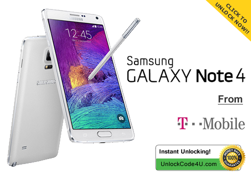 Factory Unlock Code for Samsung Galaxy Note 4 from T-Mobile