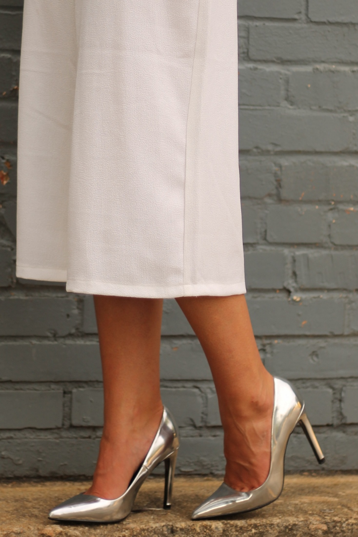 Zara Metallic Pointed Toe Pumps Silver
