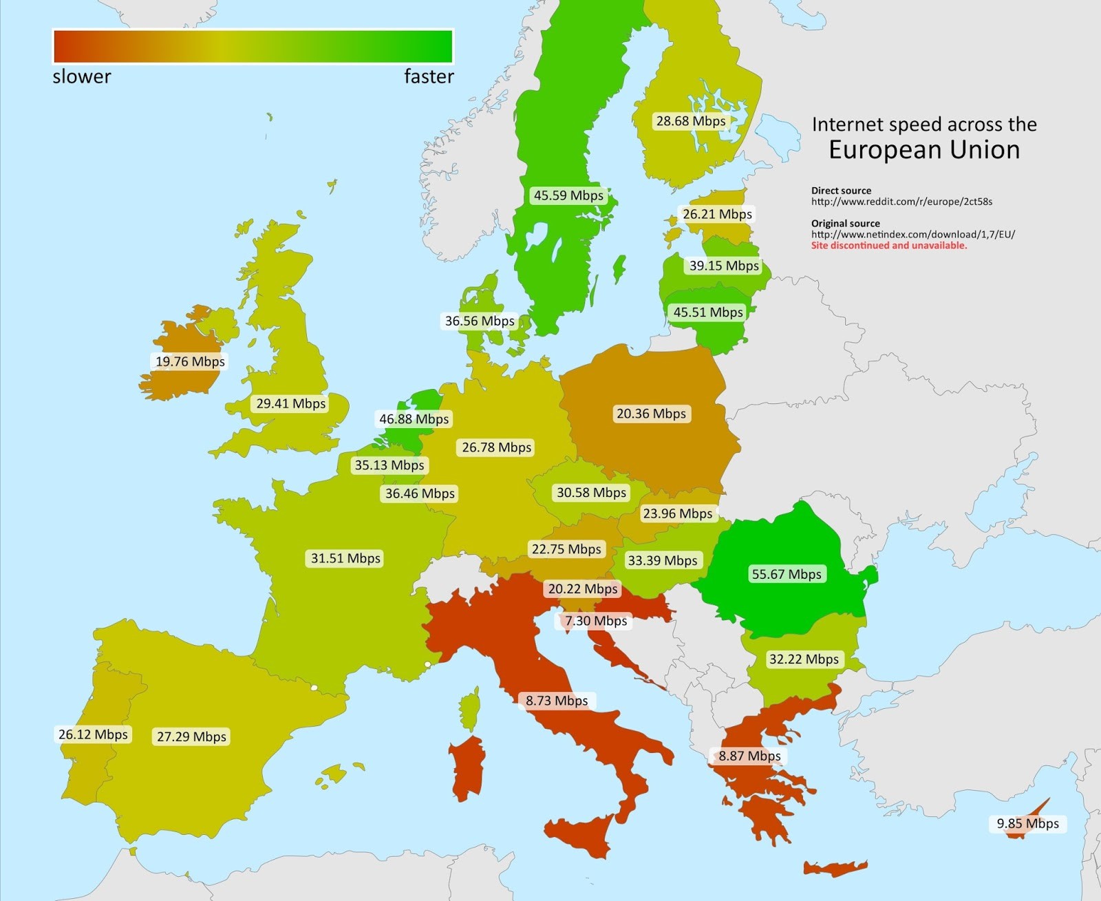Internet speed across the European Union