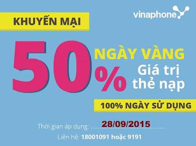 Vinaphone khuyến mãi 50% giá trị thẻ nạp ngày 28/09