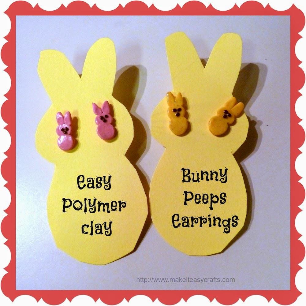 Polymer clay bunny peeps earrings