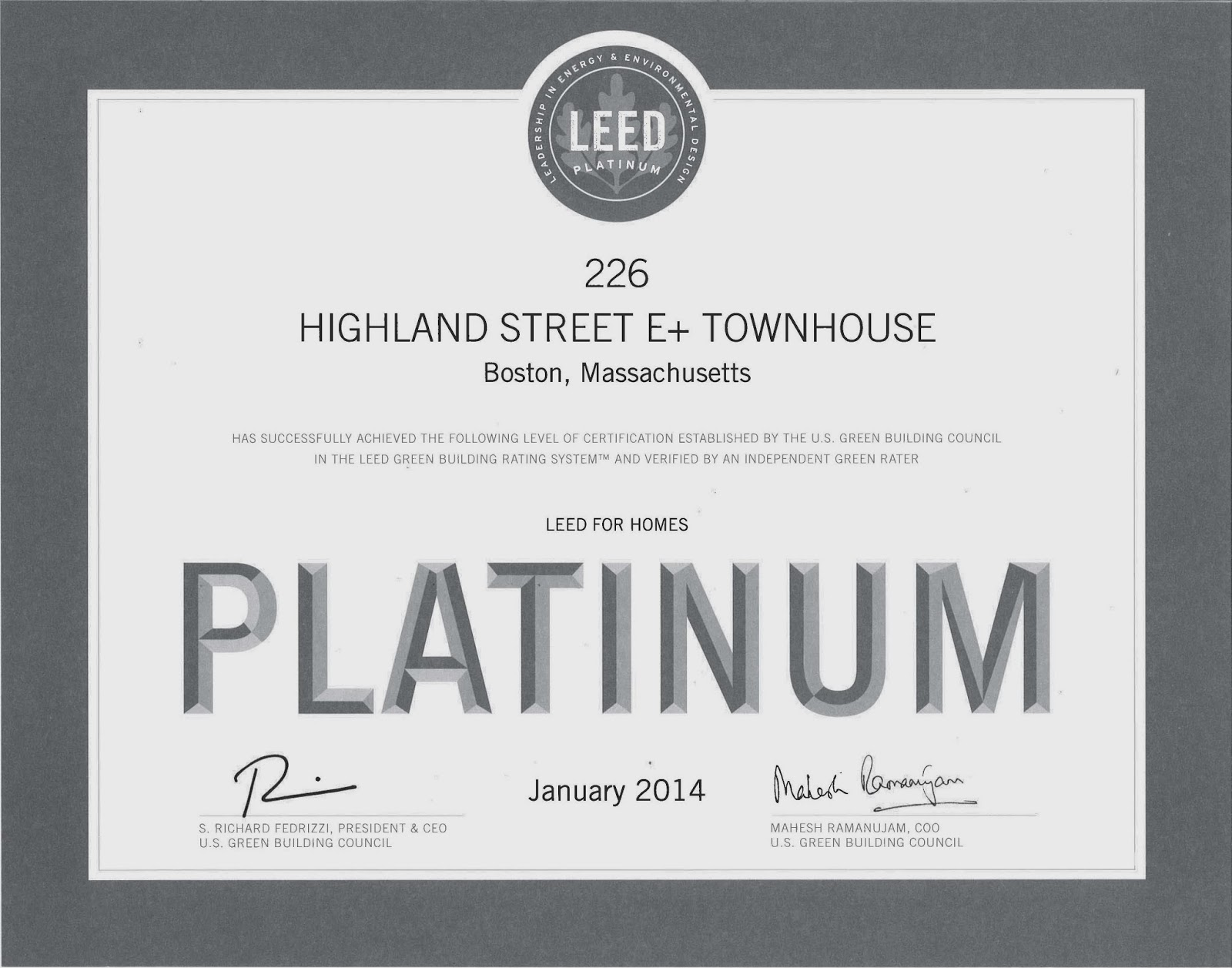 Urbanica blog leed for homes platinum x 4 awesome for Platinum leed certification