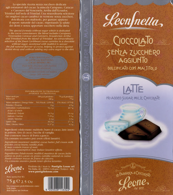 tablette de chocolat hors concours leone cioccolato latte senza zucchero aggiunto