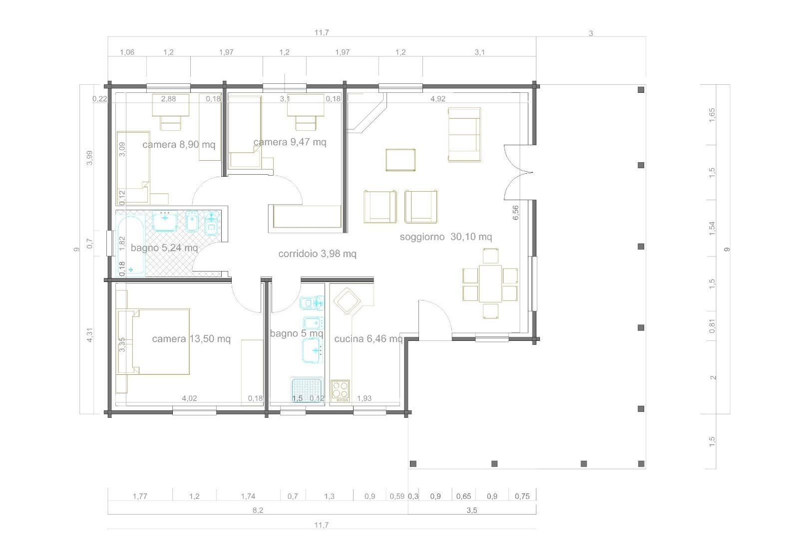 Casa blockhaus mq portico mq with proggetti case for Una pianta della casa di legno