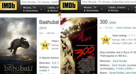 Bahubali Vs 300 IMDB rating