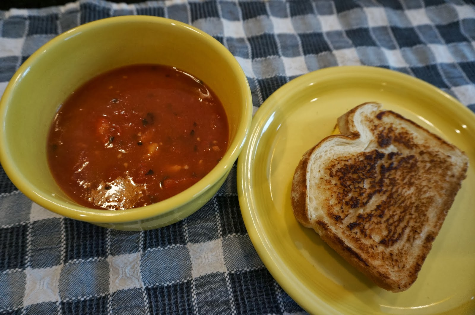 Tomato soup and sandwich, perfect for winter