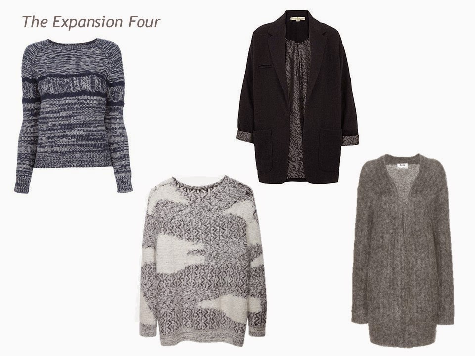 An Expansion Four in navy and grey - two sweaters, a blazer and a cardigan