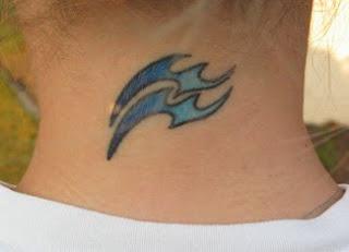 Aquarius Tattoo on Girls back neck