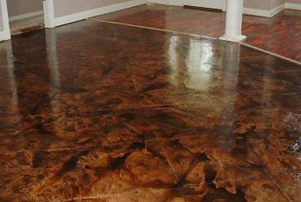 Handypro handyman services stained acid edged concrete for Acid wash concrete floors