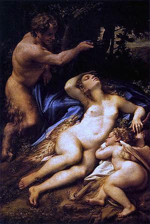 Venus y Amor descubiertos por un sátiro