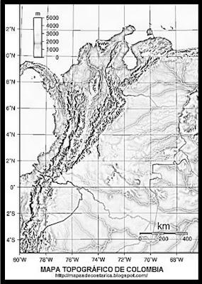 Mapa topográfico de COLOMBIA, blanco y negro