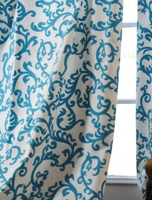 Cream and turquoise curtains