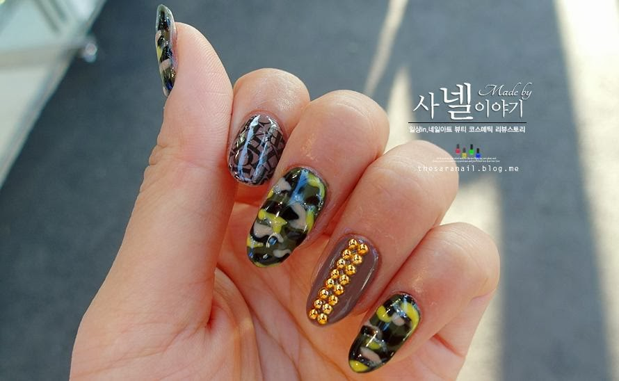 How to do army camo nails - SARA NAIL: Camo Nails With Tutorial, Camouflage DIY Nail Art, How To