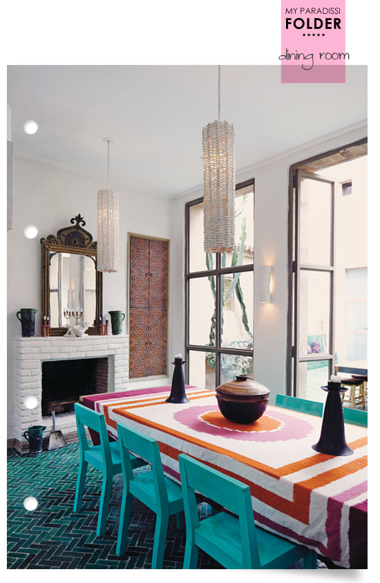A modern ethnic dining room with amazing teal fishbone tiles floor.