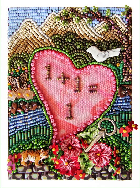 bead embroidery by Robin Atkins, Message to Women, Feb 2014
