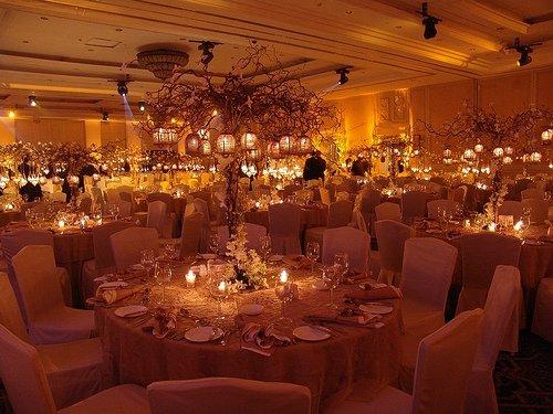 Candlelit vintage wedding reception