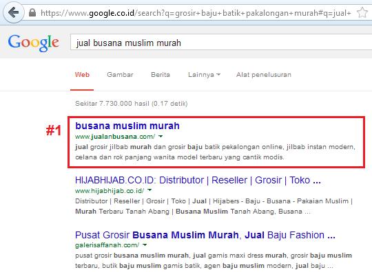 kata kunci jual busana muslim murah ranking 1 setelah dipasang backlink