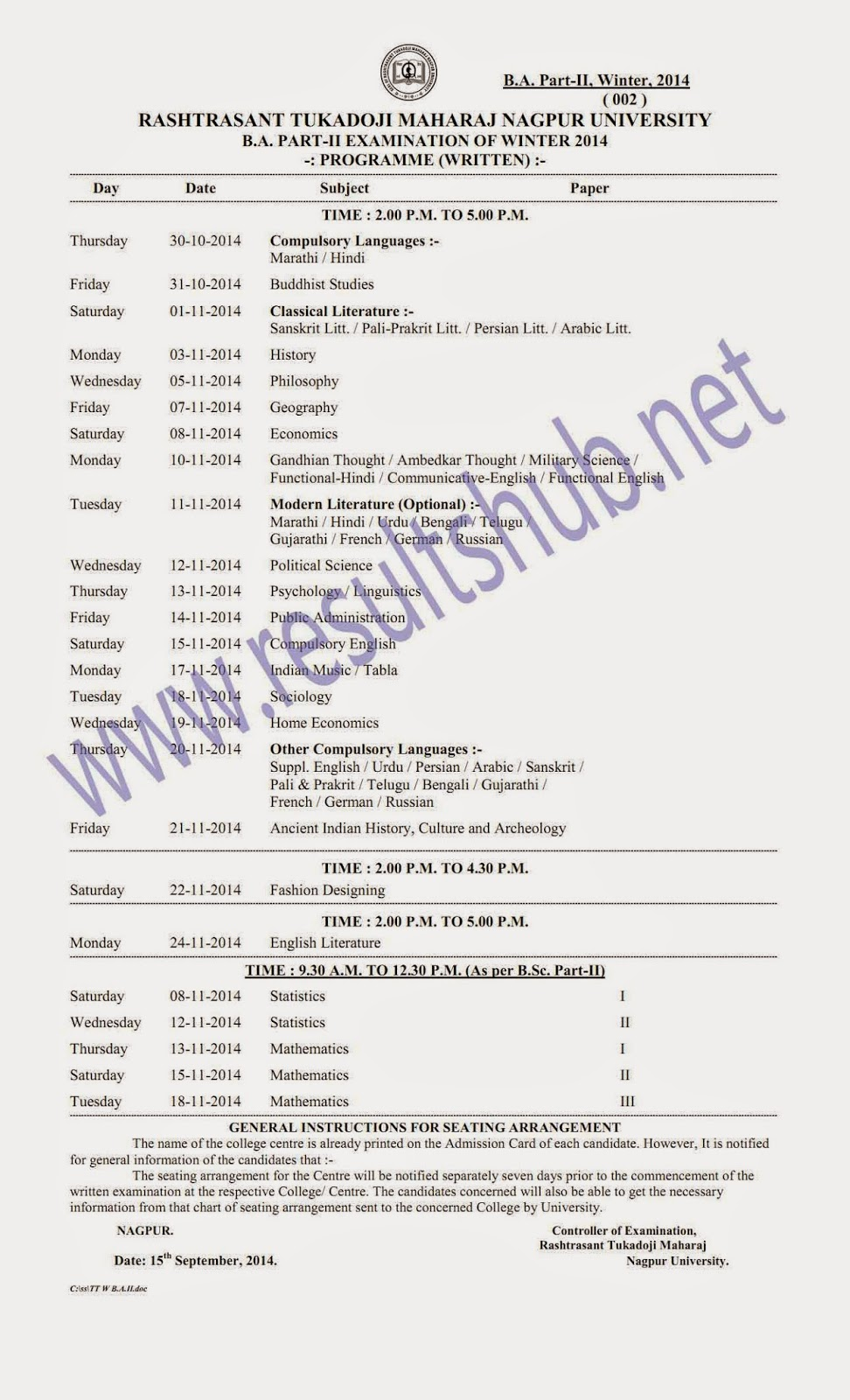 RTMNU-BA-Part-2-Winter-2014-Timetable