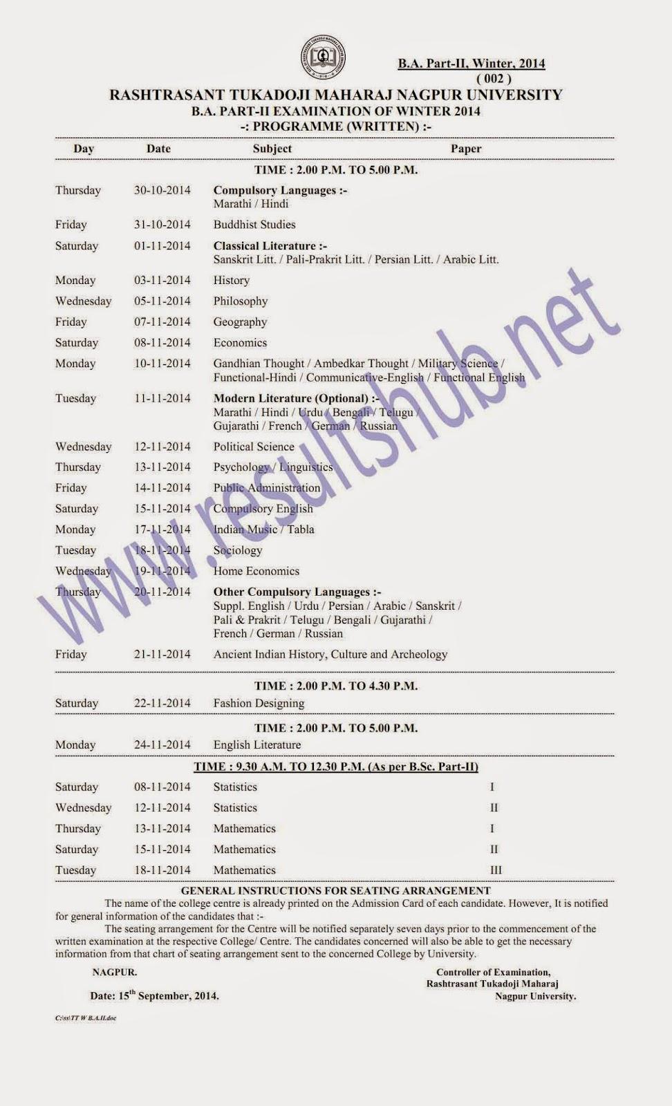 RTMNU-BA-Part-2-Winter-2014-Timetable