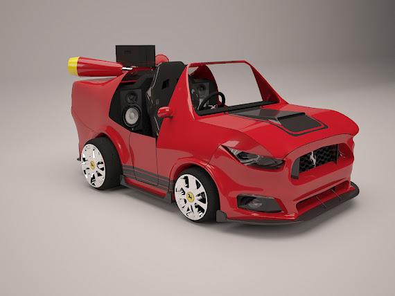 Rendu 3d d'une voiture style Kart