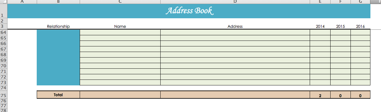 Excel Address Book Template - Template
