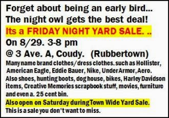 8-29/30 Friday Night Yard Sale