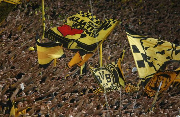 Borussia Dortmund fans love nothing more than waving huge flags on the Westfalonstadion