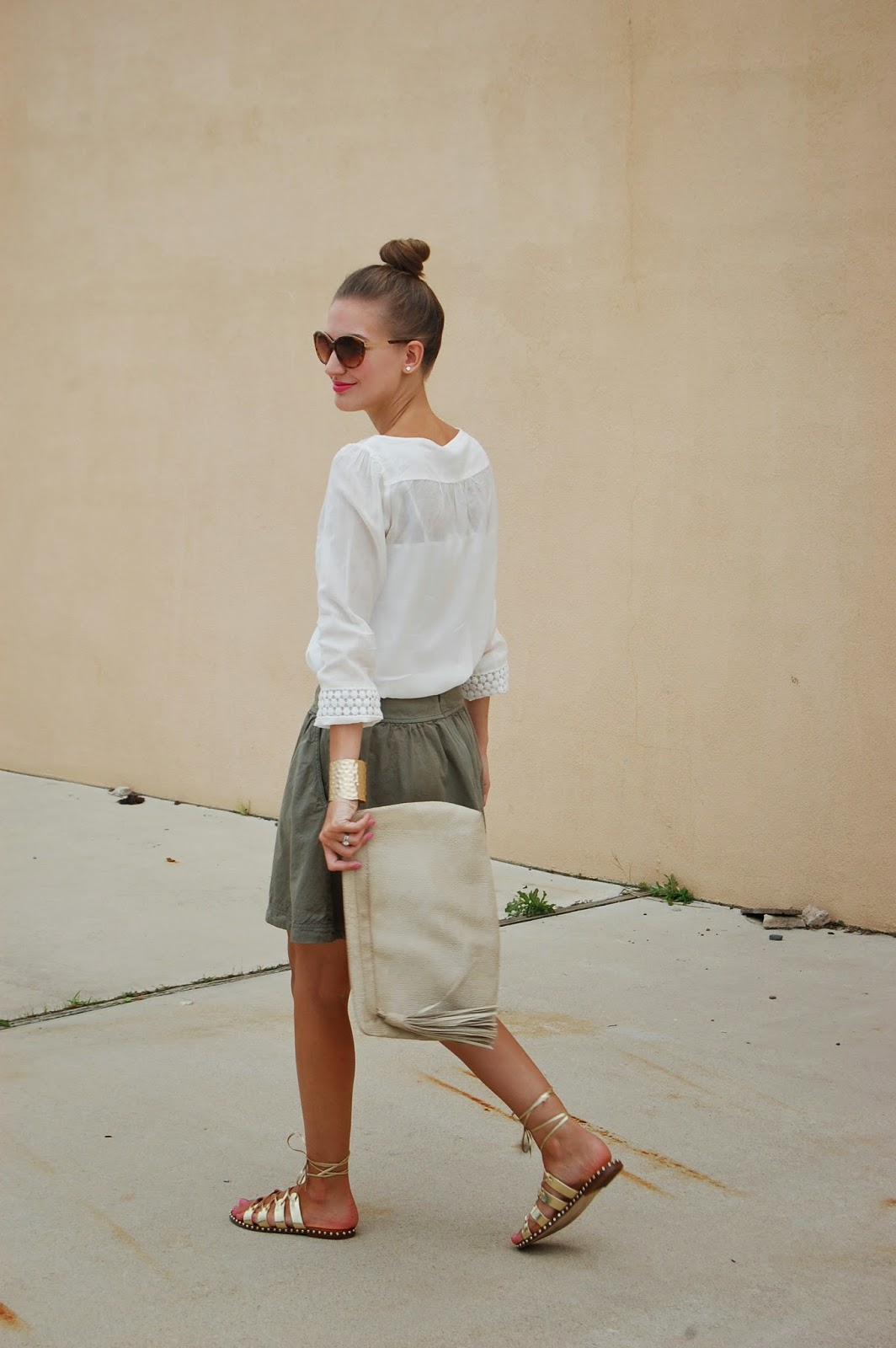 Summer 2014 looks, Loft white peasant blouse, Caslon flared skirt out, J.Crew gold studded gladiator laced up sandals, Prima Donna gold hammered cuff.