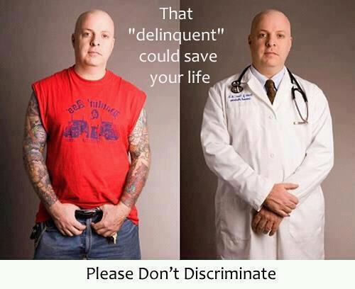 I have tattoos this delinquent could save your life for Tattoos in the workplace discrimination