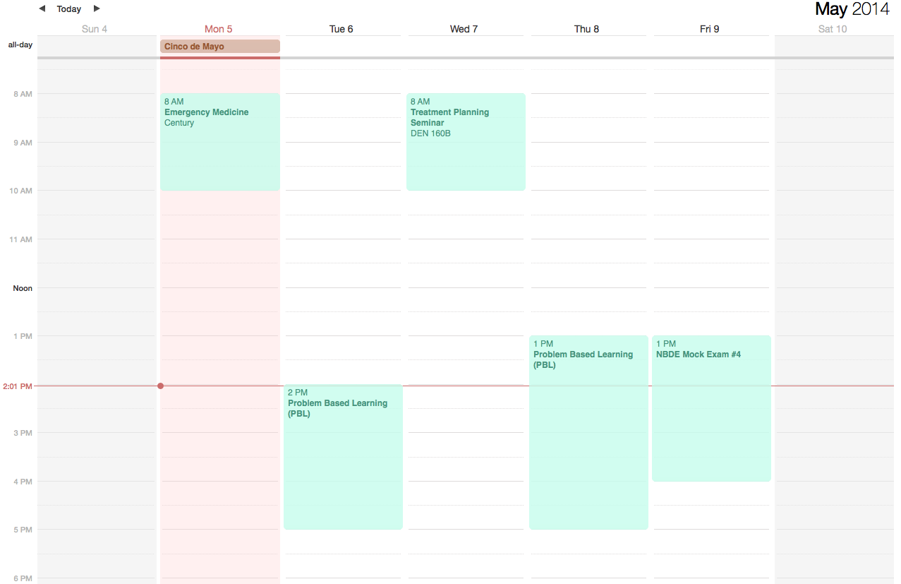 Ostrow School of Dentistry Third Year Schedule