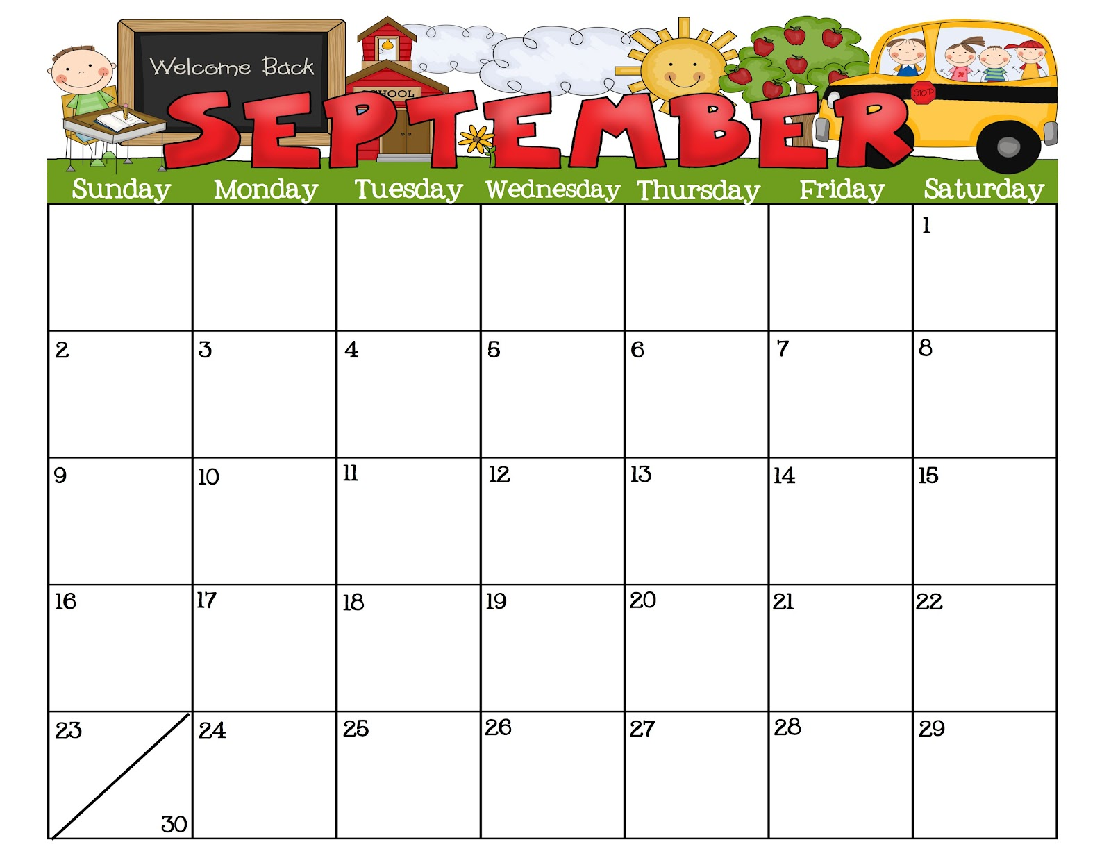 Calendar September Calendar And If. Blank January Calendar Preschool ...