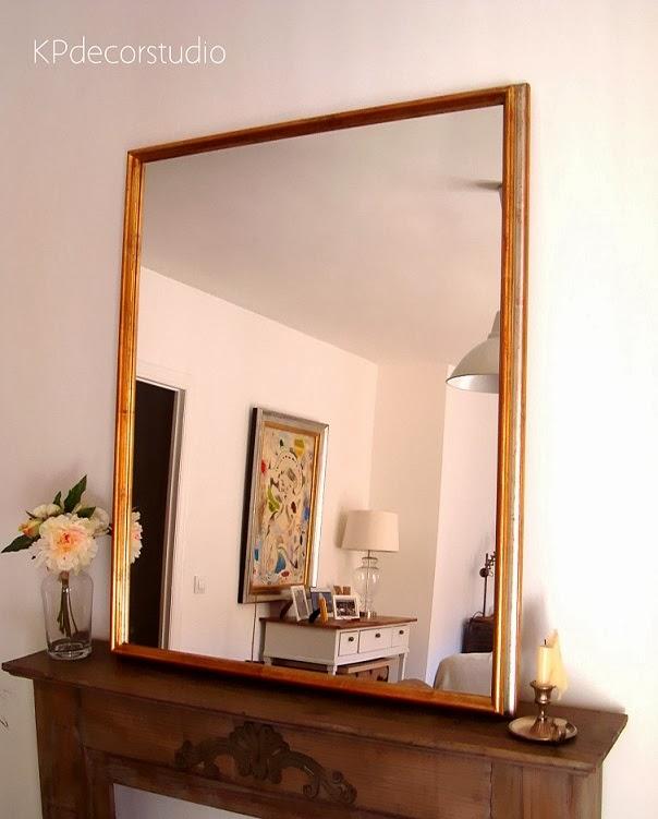 Kp tienda vintage online espejo dorado de madera marco for Espejos de pared madera